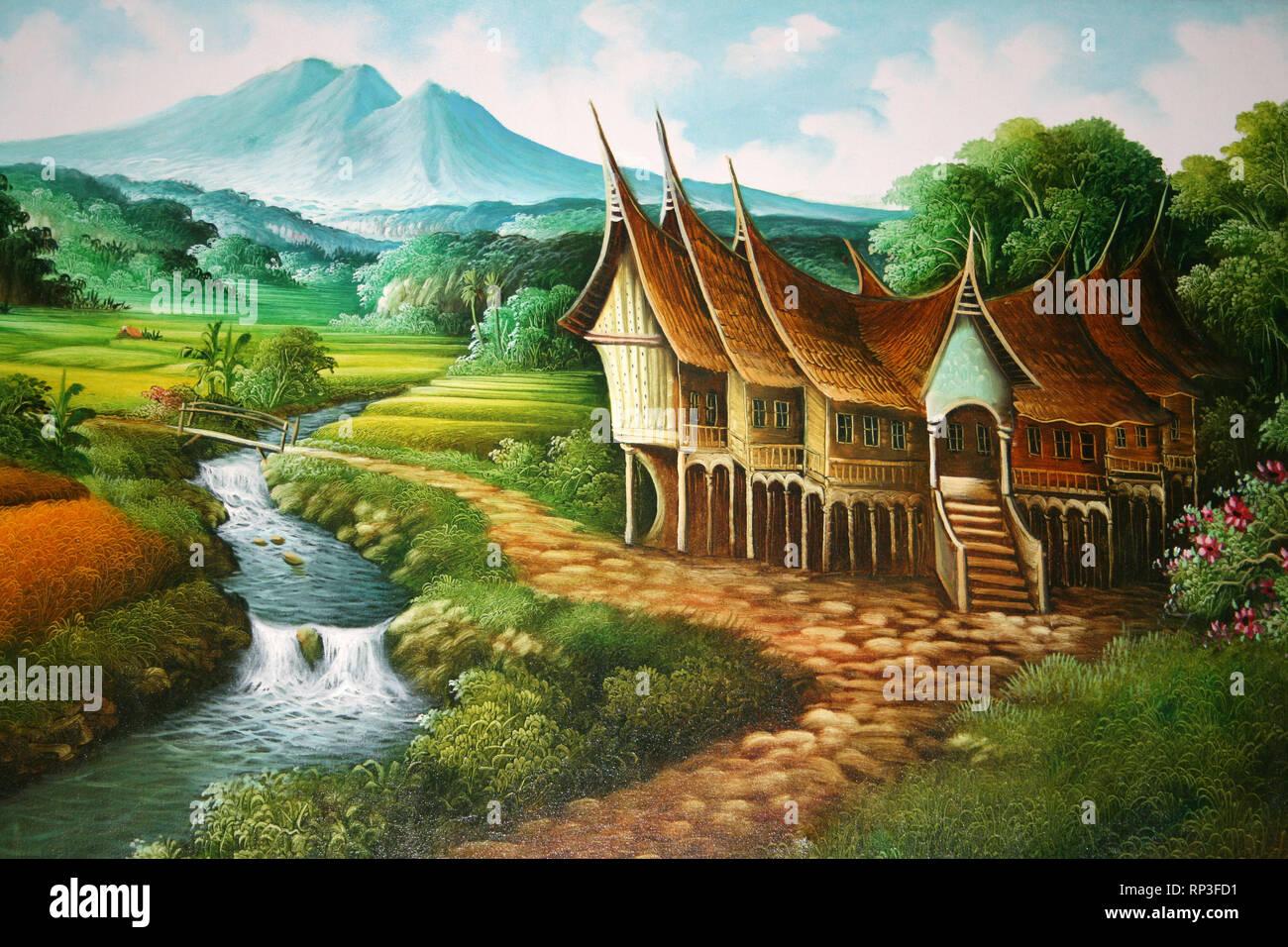 indonesia art showing rumah gadang house RP3FD1