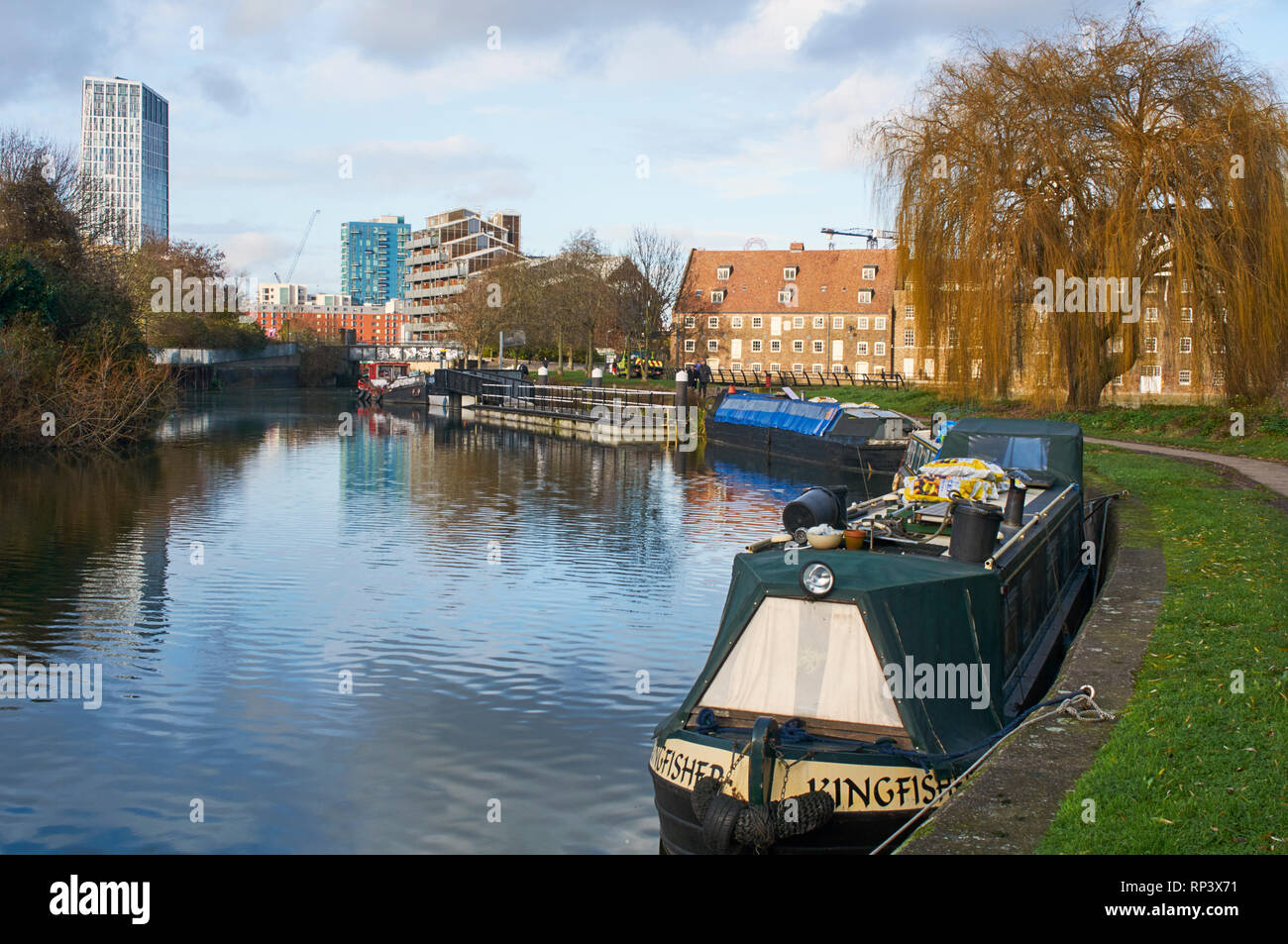 The River Lea near Three Mills Island, Bromley-By-Bow, East London UK - Stock Image