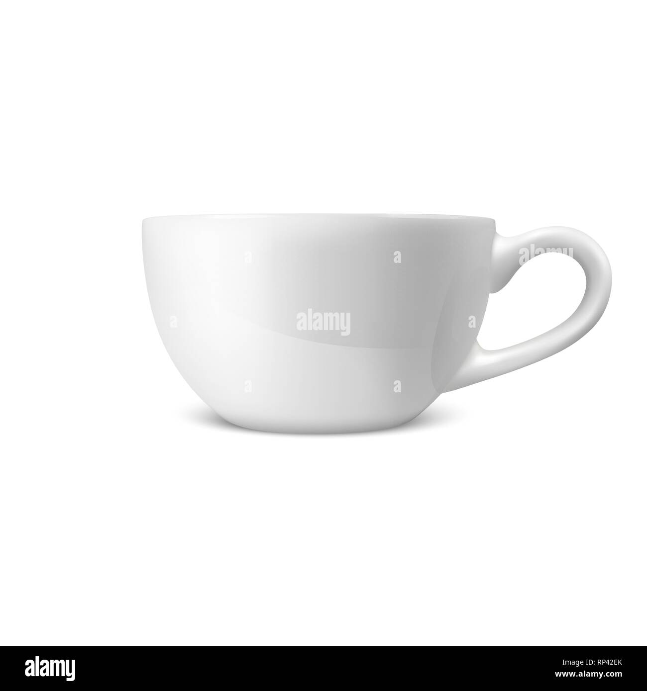Realistic Vector 3d Glossy Blank White Coffee Tea Cup, Mug Icon Closeup Isolated on White Background. Design Template of Porcelain Cup or Mug for - Stock Image