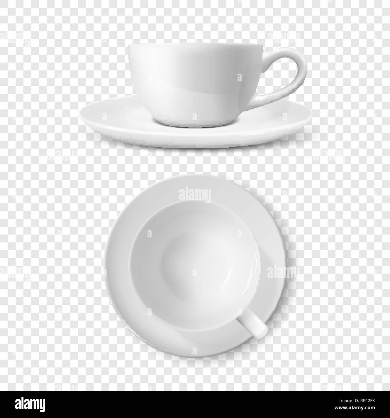 Realistic Vector 3d Glossy Blank White Coffee Tea Cup Mug Set Closeup Isolated Design Template Of Porcelain Cup Or Mug And Saucer Plate For Branding Stock Vector Image Art Alamy