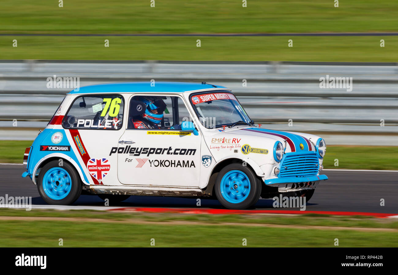 Jo Polley in the Super MIghty Minis Championship race entrant at the Snetterton 2018 meeting, Norfolk, UK. - Stock Image
