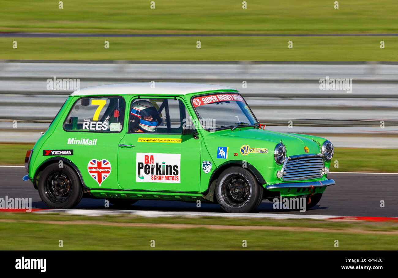 Dave Rees in the Super Mighty Minis Championship race entrant at the Snetterton 2018 meeting, Norfolk, UK. - Stock Image
