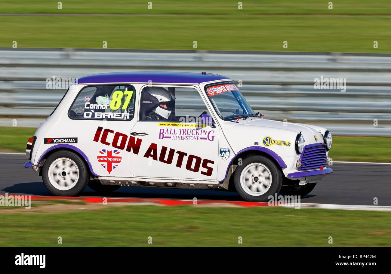 Connor O'Brien in his Super Mighty Minis Championship race entrant at the Snetterton 2018 meeting, Norfolk UK. - Stock Image