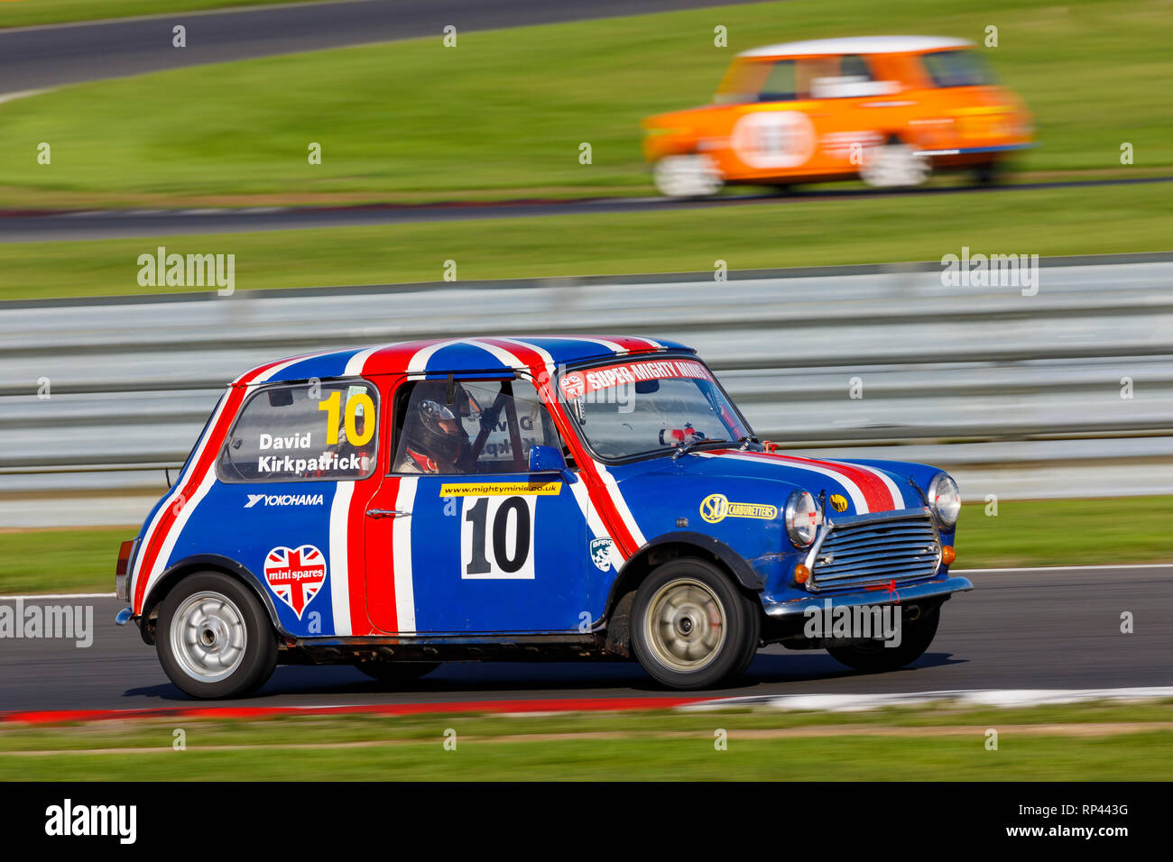 David Kirkpatrick in his Super Mighty Minis Championship race entrant at Snetterton 2018, Norfolk, UK. - Stock Image
