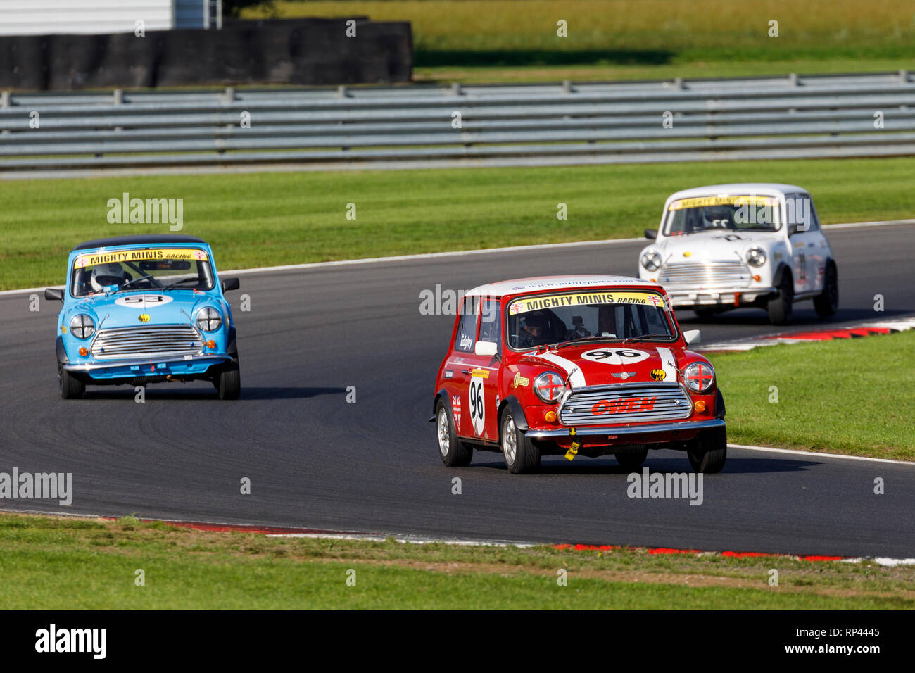 Owen Edgley in his Mighty Minis Championship race entrant at Snetterton 2018, Norfolk, UK. Stock Photo