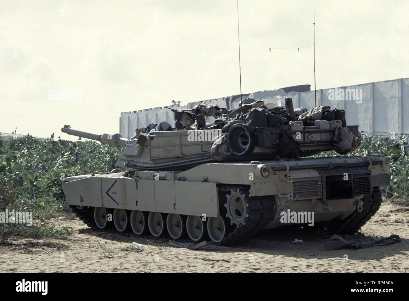 136065c1bdf604 16th October 1993 A U.S. Army M1A1 Abrams tank of the 24th Infantry  Division, 1st Battalion of the 64th Armored Regiment at UNOSOM Headquarters  in Mogadishu ...