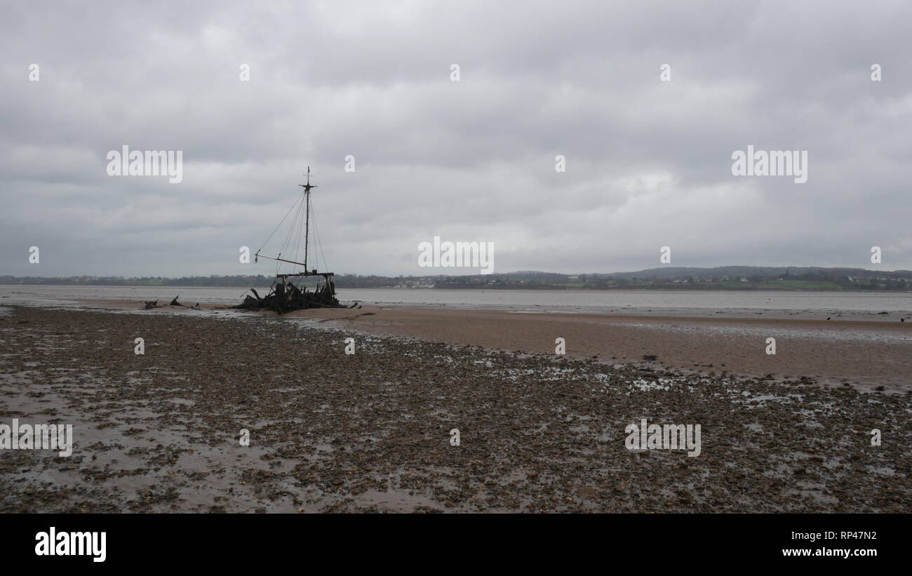 There Exe Estuary, overcast day - Stock Image