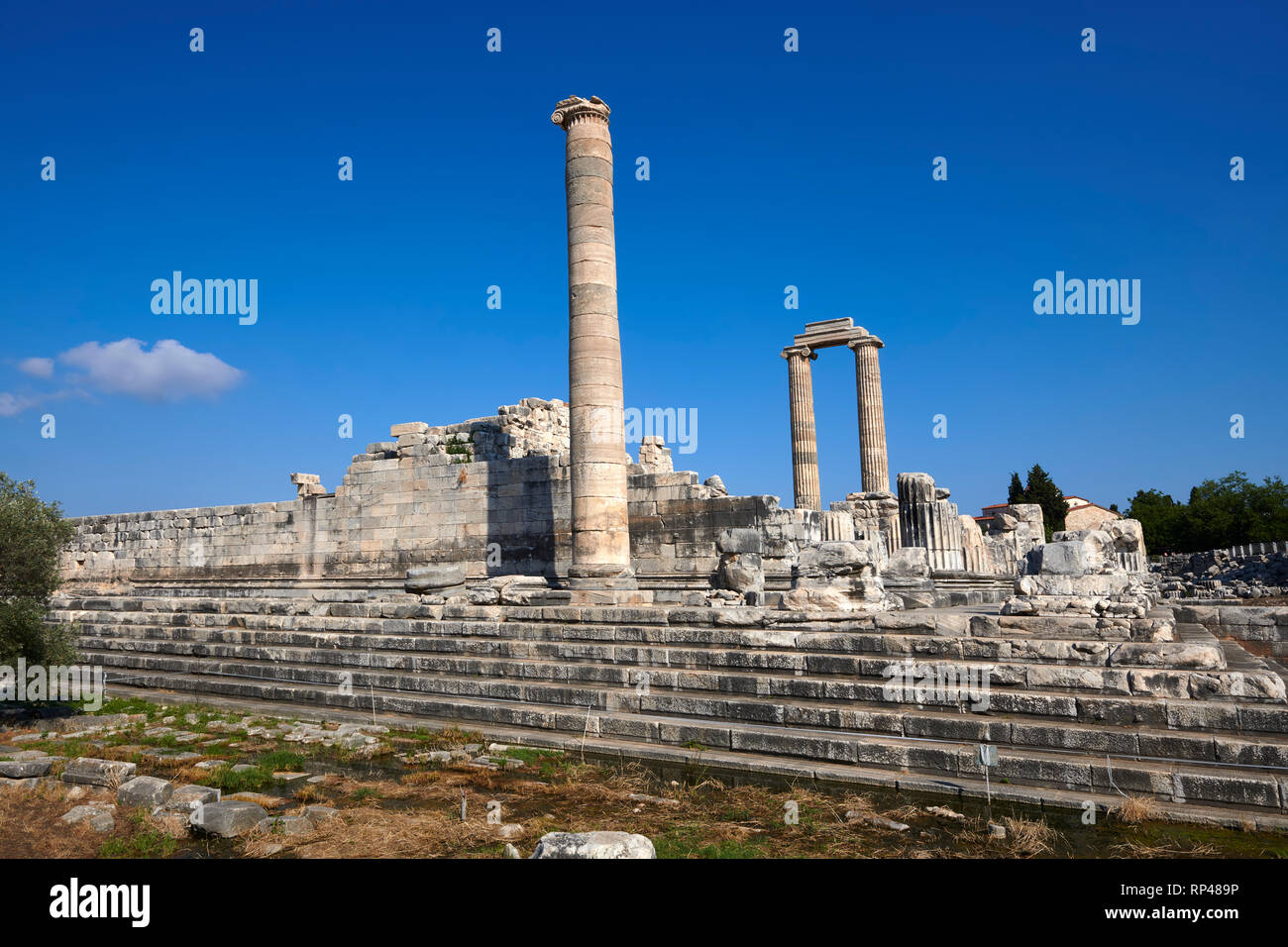 Picture of the ruins of the Ancient Ionian Greek  Didyma Temple of Apollo & home to the Oracle of Apollo.  Also known as the Didymaion completed circa - Stock Image