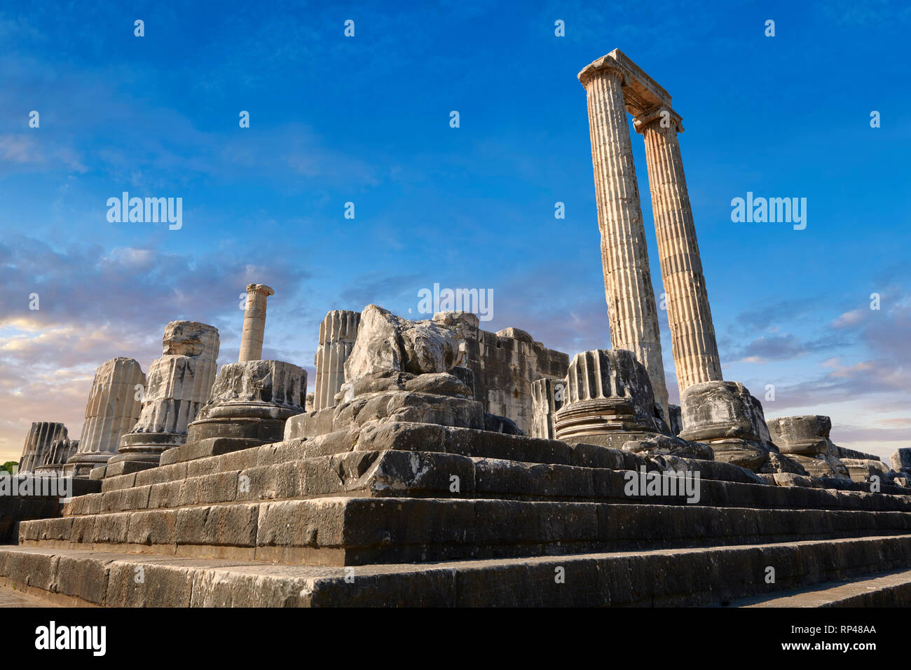 Picture of the steps & columns of the ruins of the Ancient Ionian Greek  Didyma Temple of Apollo & home to the Oracle of Apollo.  Also known as the Di - Stock Image