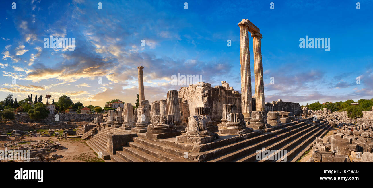 Picture of the steps & columns of the ruins of the Ancient Ionian Greek  Didyma Temple of Apollo & home to the Oracle of Apollo.  Also known as the Di Stock Photo