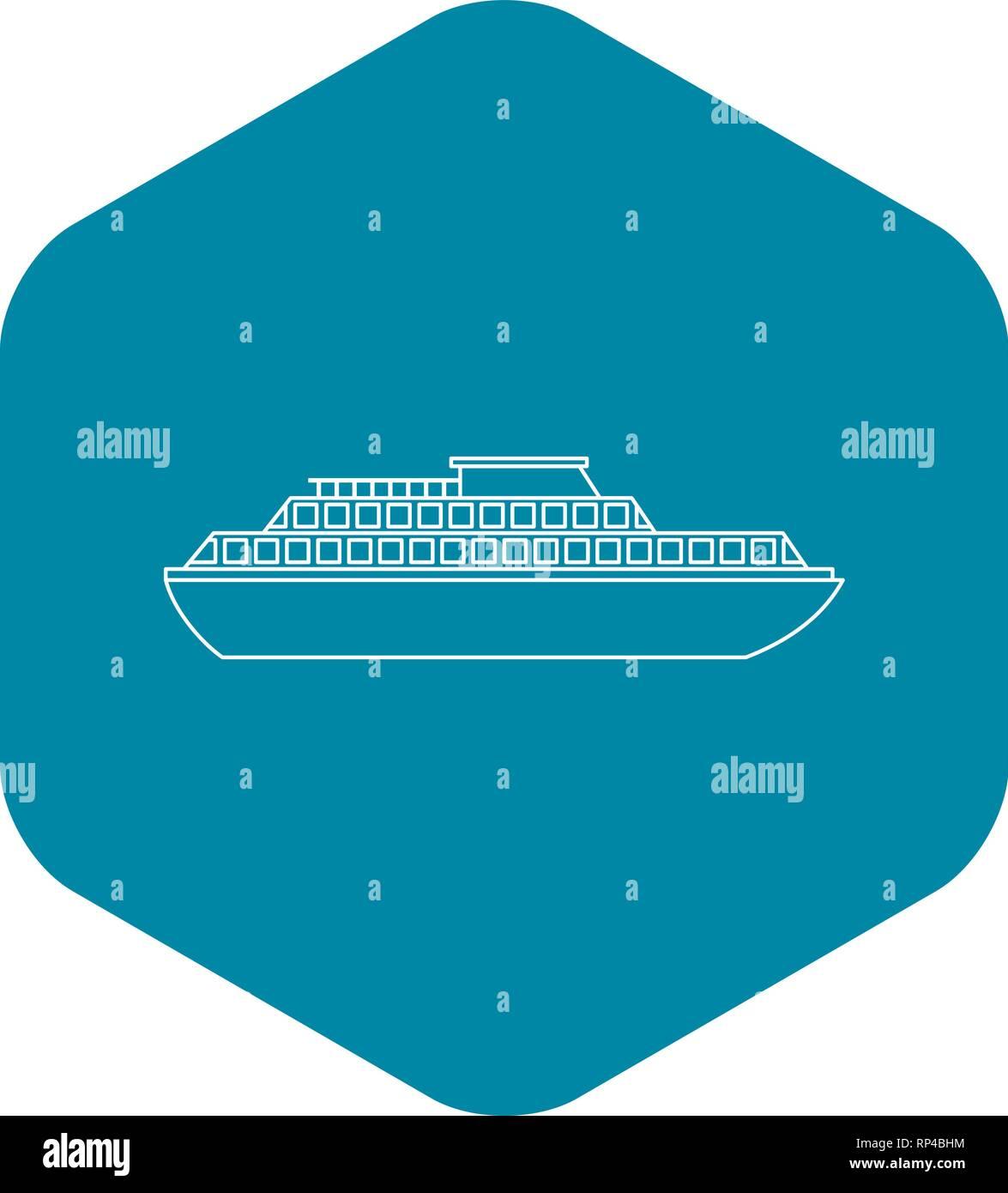Cruise ship icon, outline style - Stock Vector
