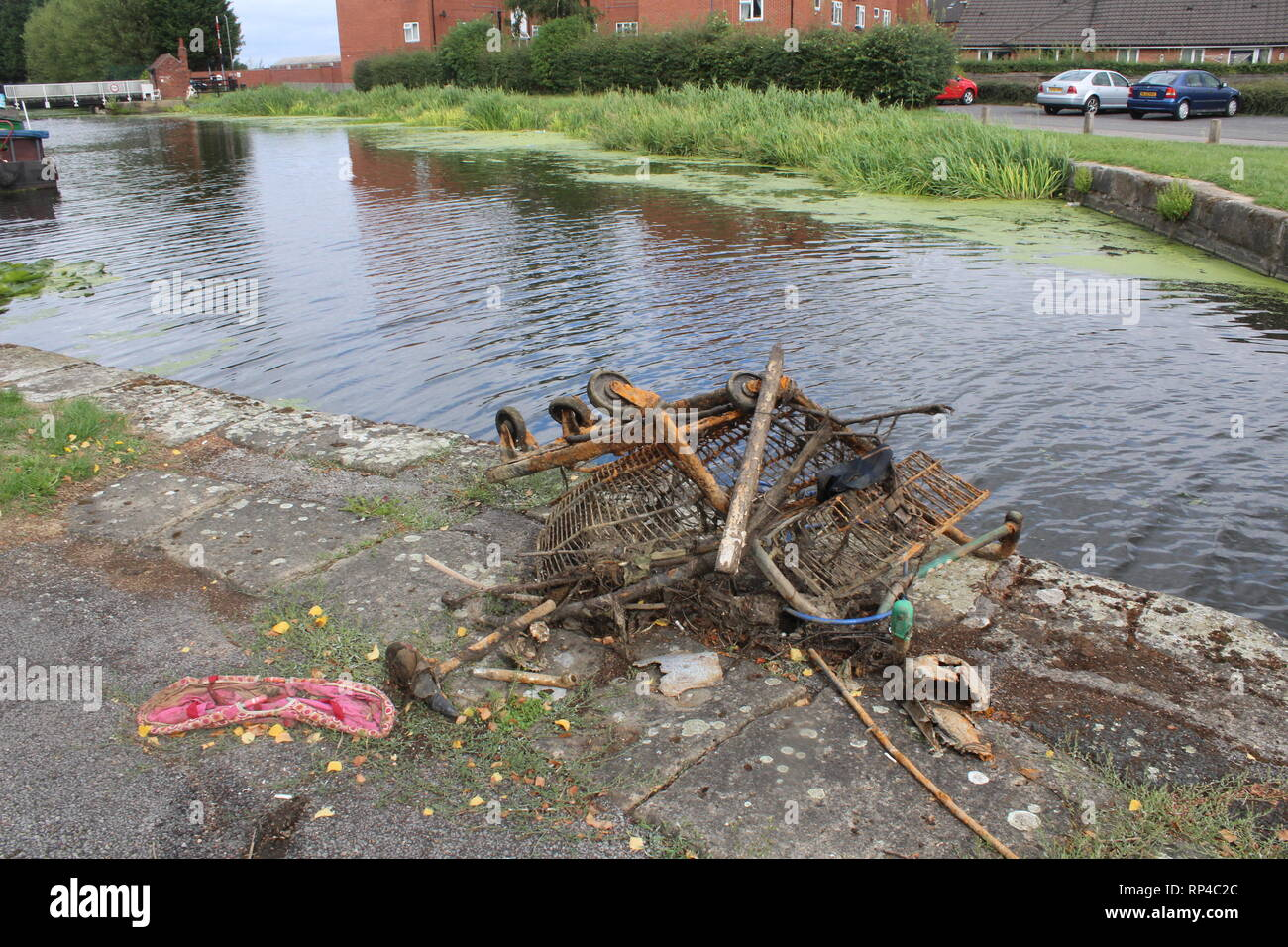 Rubbish taken out off Selby Canal  and left on towpath - Stock Image