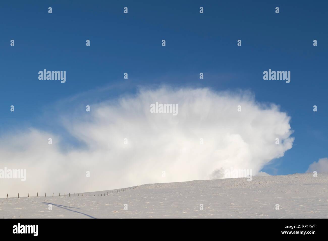 Top of a cumulonimbus snow cloud - Stock Image