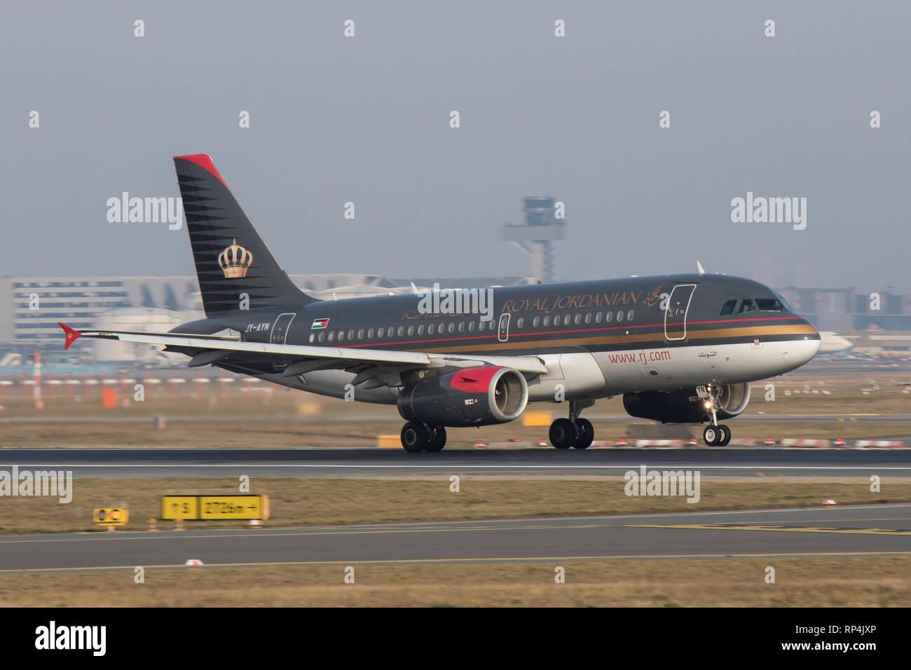 JY-AYN Airbus A319 of Royal Jordanian departing Frankfurt Airport 07/02/2018 - Stock Image