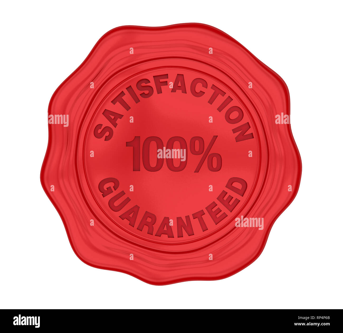 100% Satisfaction Guaranteed Wax Seal Isolated - Stock Image
