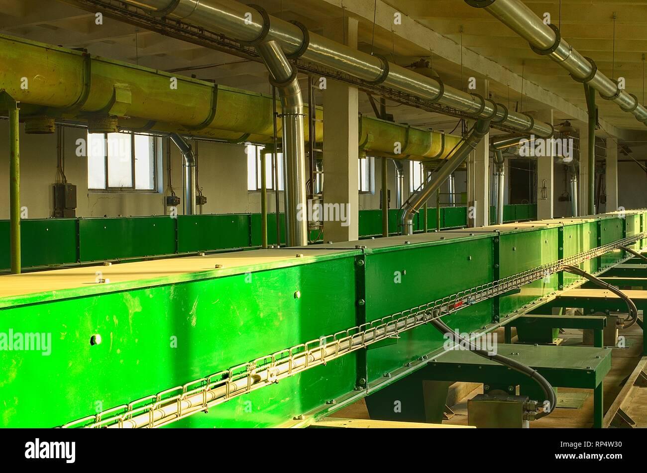 Factory interior  Conveyor crops  Chain conveyor grain