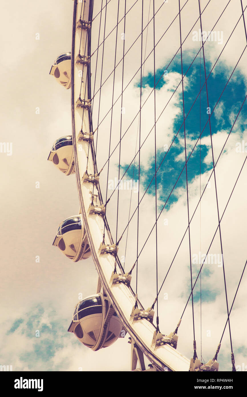 High Roller Ferris wheel with vintage retro filter, Las Vegas Nevada - Stock Image