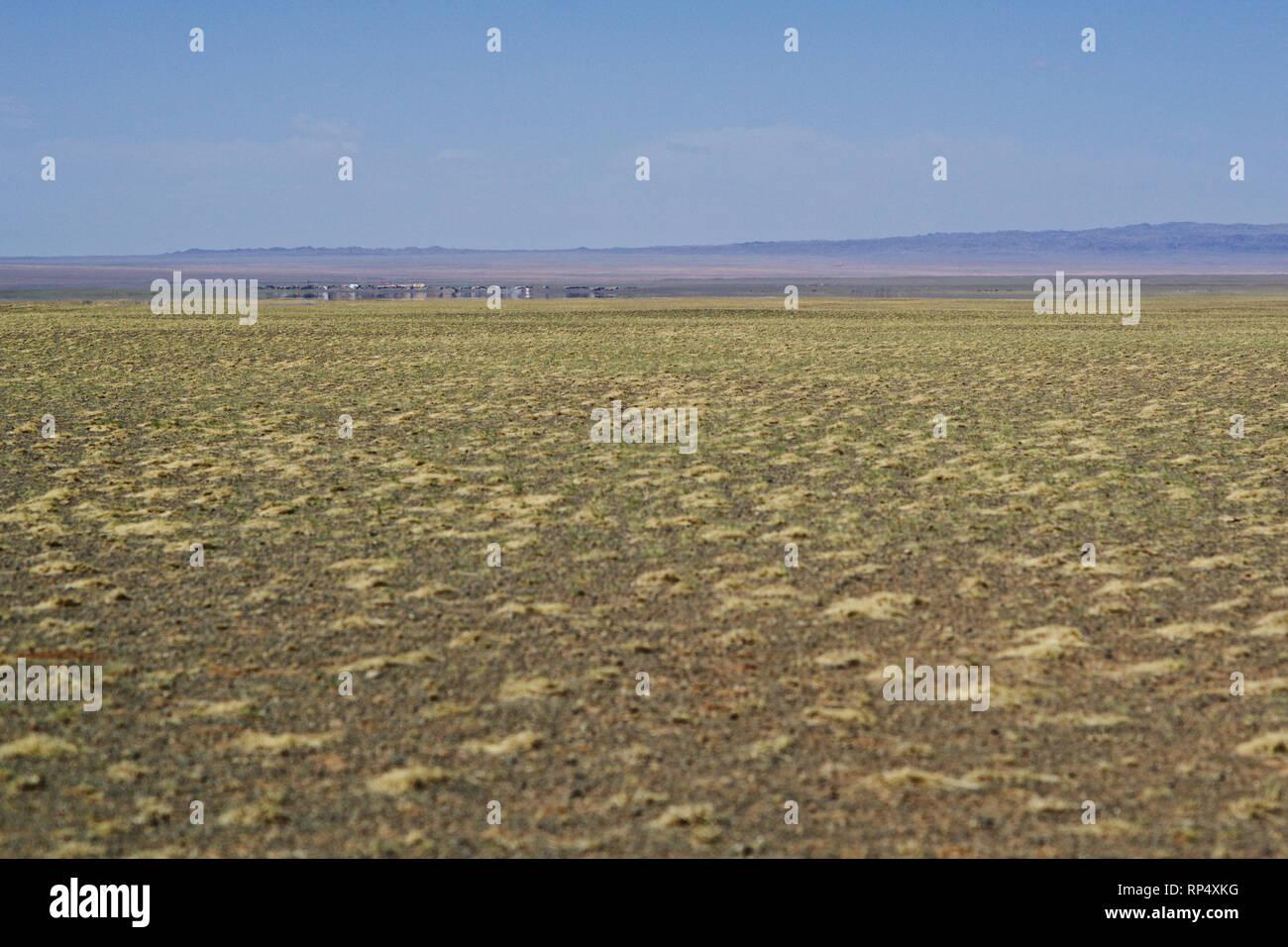 City with mirage, Gobi desert, Omnogov aimag, Mongolia Stock Photo