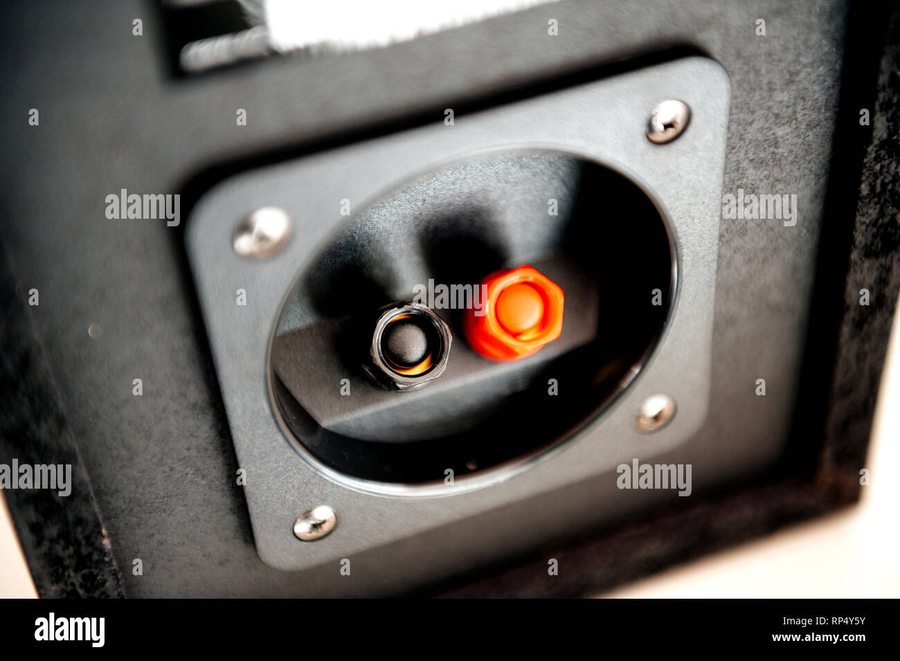 Rear part of powerful passive wooden loudspeaker with connection port - Stock Image