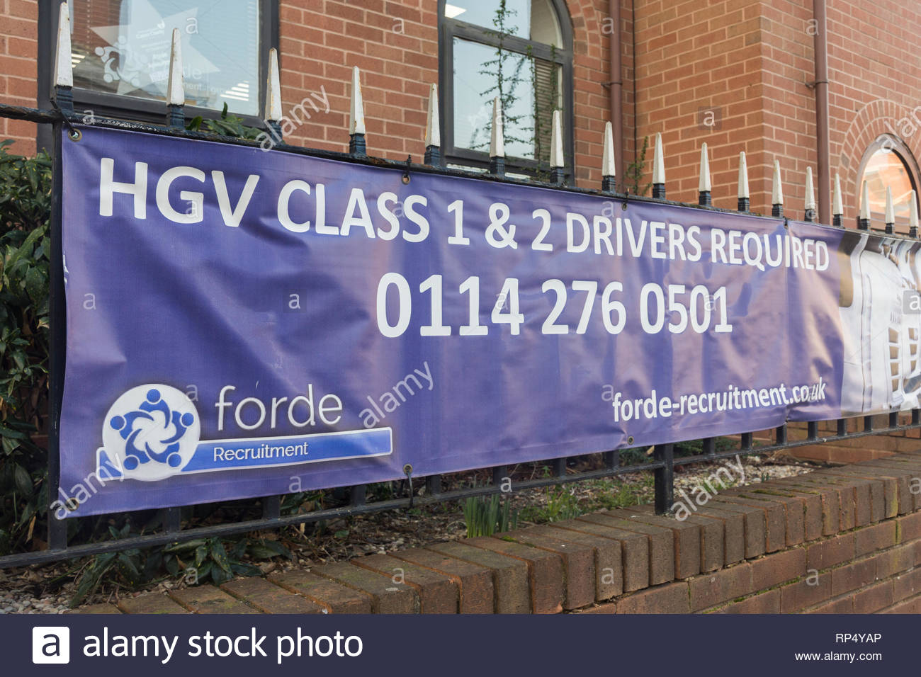 Banner advertising for HGV Class 1 and 2 drivers in Sheffield, South Yorkshire, England, UK - Stock Image
