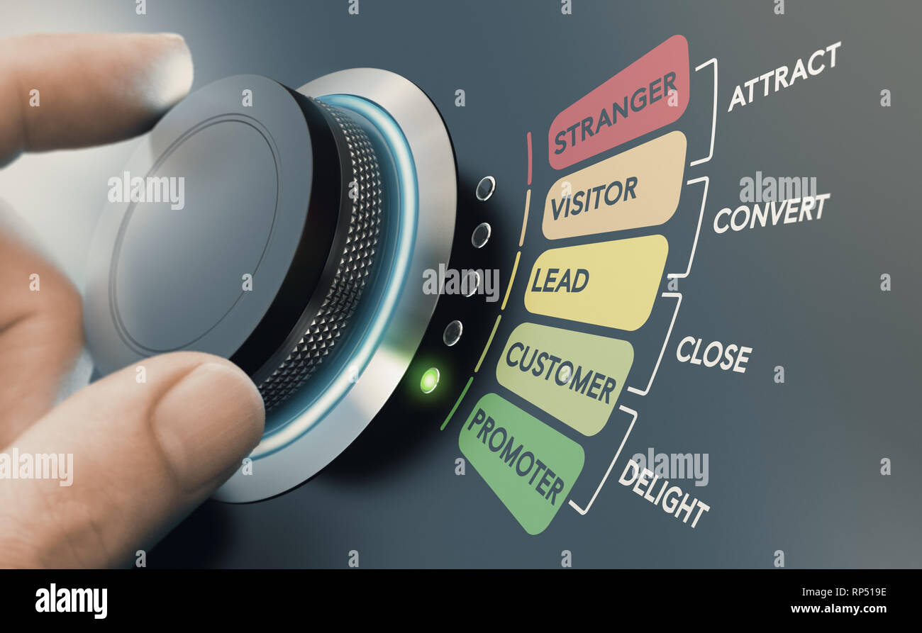 Man turning knob with different stages of sales process to convert strangers into promoters. Successful inbound marketing campaign concept. - Stock Image