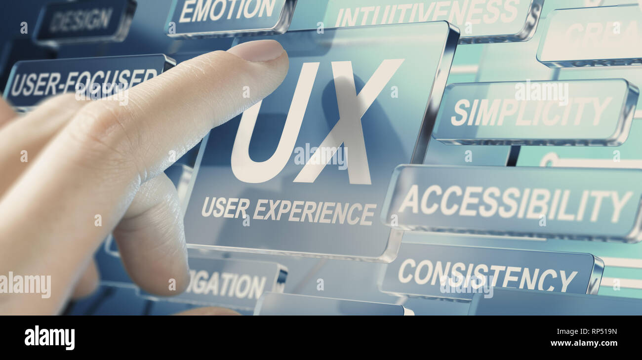 Woman pushing a glass button for testing UX parameters. User experience concept - Stock Image