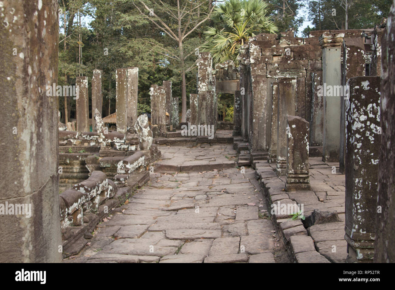 Siem Reap-Bayon Temple path surrounded by colums - Stock Image