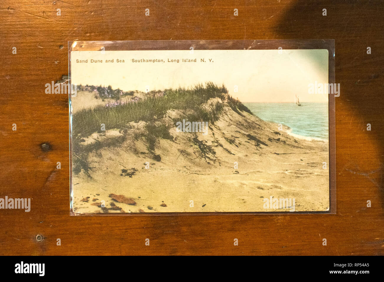 Historic collectible postcard of the Hamptons Southhampton seashore in Long Island, New York. - Stock Image