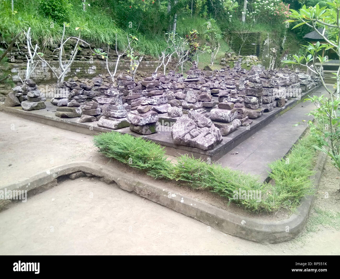 Ubud-Stones at Goa Gajah elephant cave - Stock Image