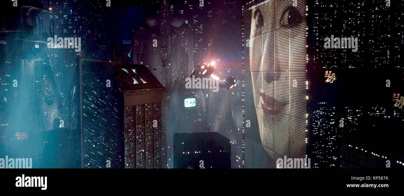 FUTURISTIC CITY SCENE, BLADE RUNNER, 1982 - Stock Image