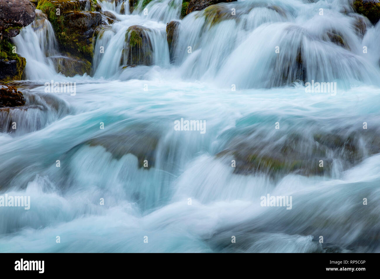 Whitewater rapids beneath Dynjandi waterfall. Westfjords, Iceland. - Stock Image