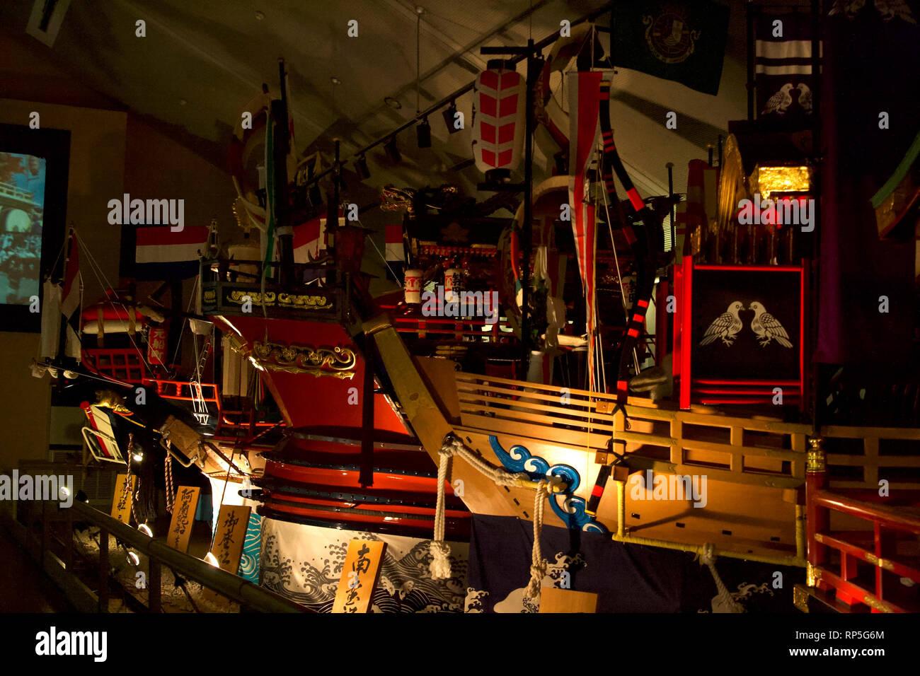 Nagasaki-Fish boats reproduction at Tradition Museum (Glover Dori-Dutch Slope) 1 - Stock Image