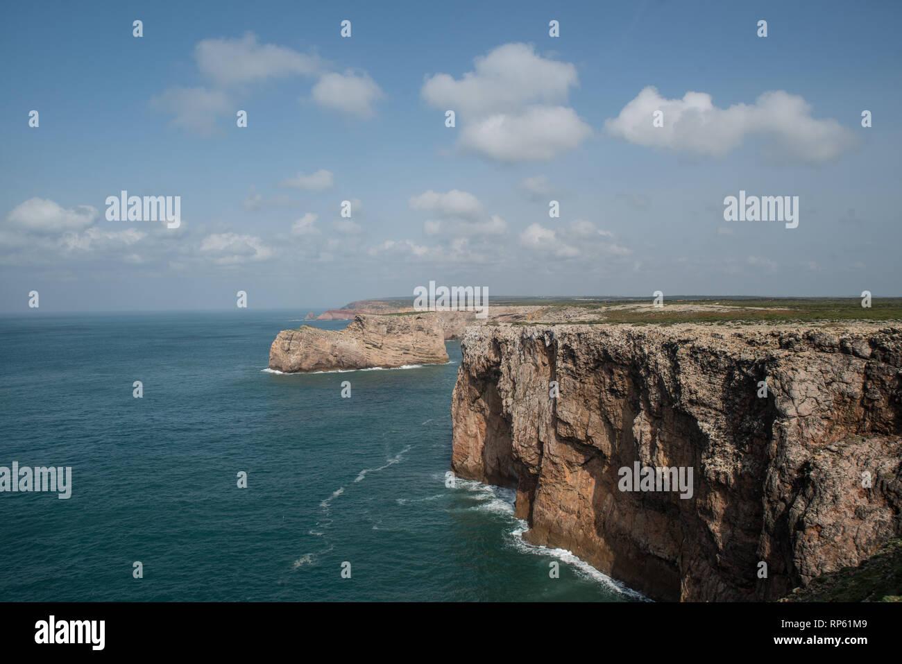 Ocean cliff, Sagres, Algarve, Portugal, February 2019 - Stock Image