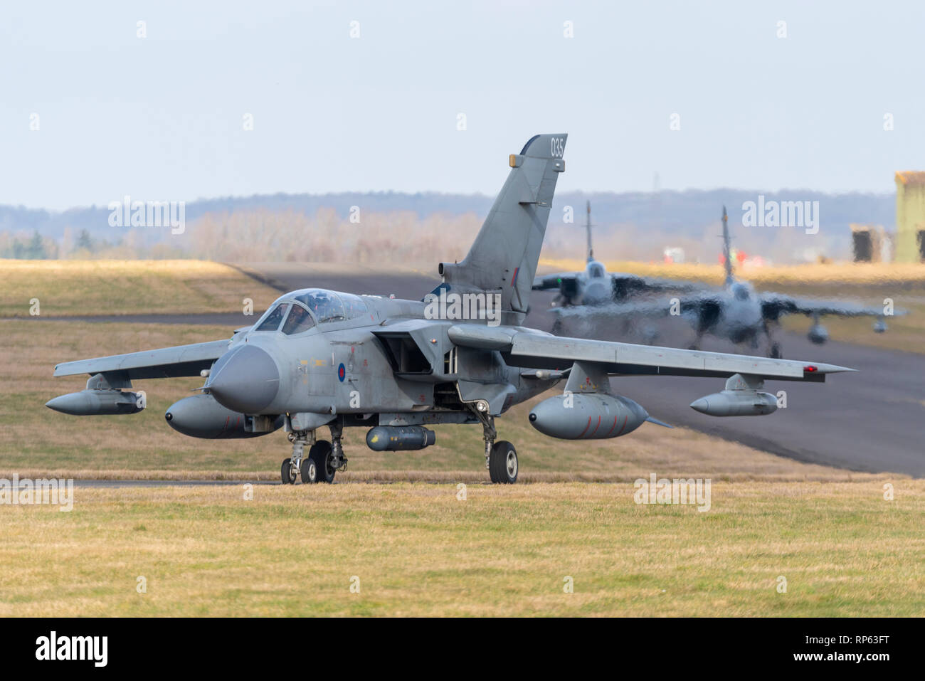 Royal Air Force Panavia Tornado Gr4 fighter jet taxiing out to take part in the RAF Tornado Farewell Tour titled FINale. Fighter jets, planes Stock Photo