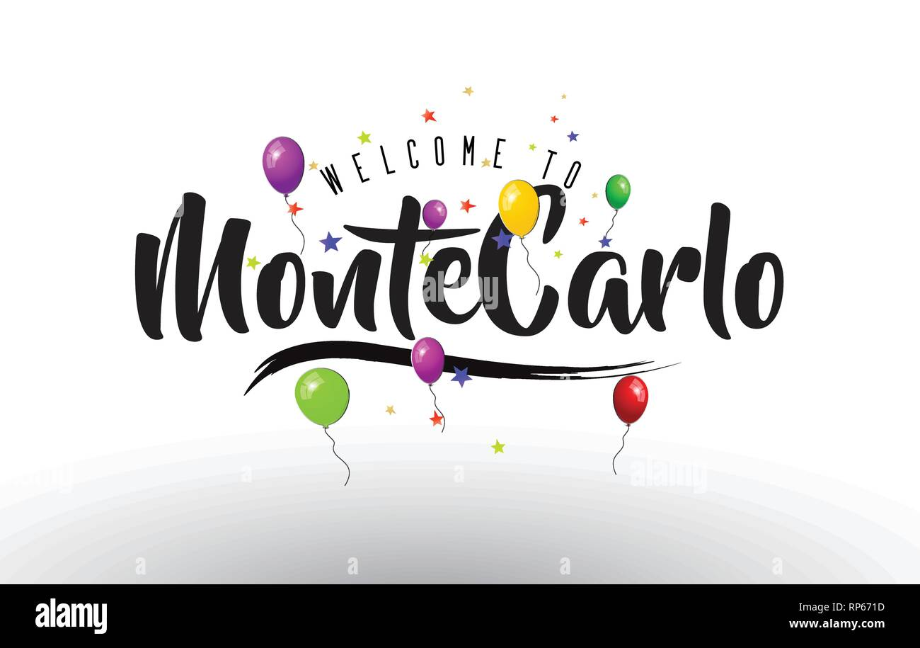 MonteCarlo Welcome to Text with Colorful Balloons and Stars Design Vector Illustration. - Stock Vector