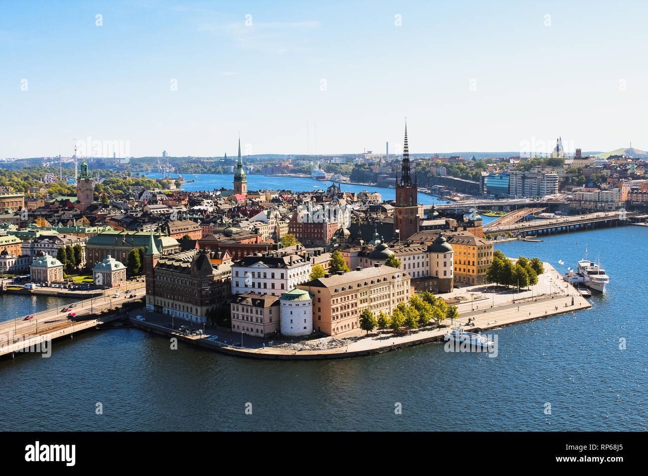 View of Stockholm skyline on Gamla Stan from above at the top of Stockholm Stadshus / town hall during a clear summer day (Stockholm, Sweden, Europe) Stock Photo