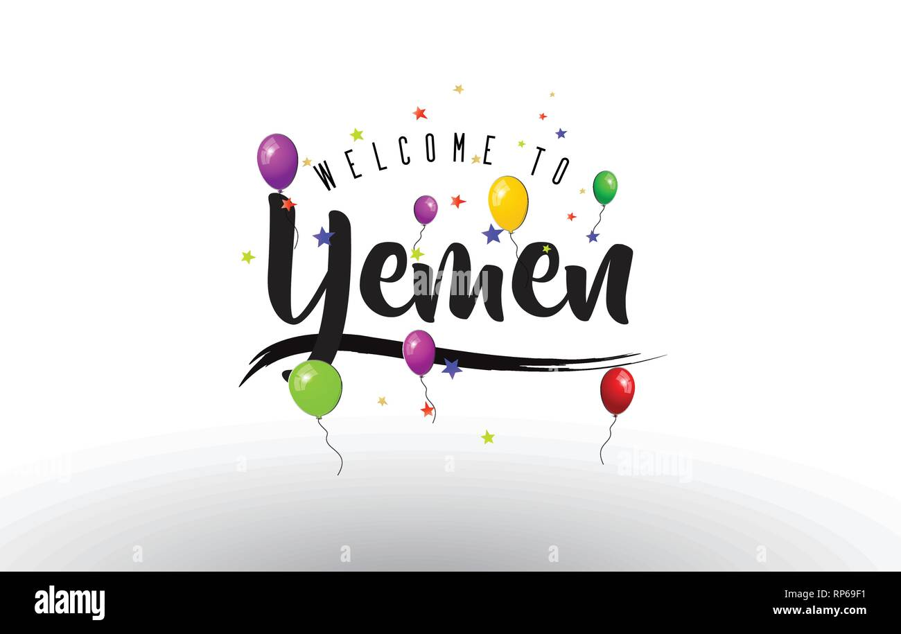 Yemen Welcome to Text with Colorful Balloons and Stars Design Vector Illustration. - Stock Vector