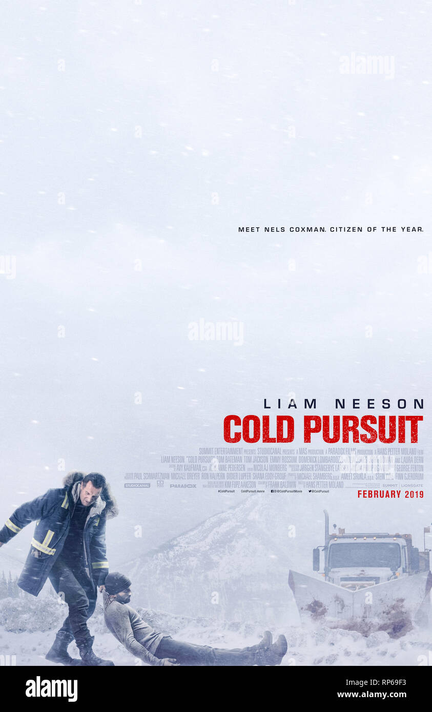 Cold Pursuit (2019) directed by Hans Petter Moland and starring Liam Neeson, Laura Dern and Micheál Richardson. - Stock Image