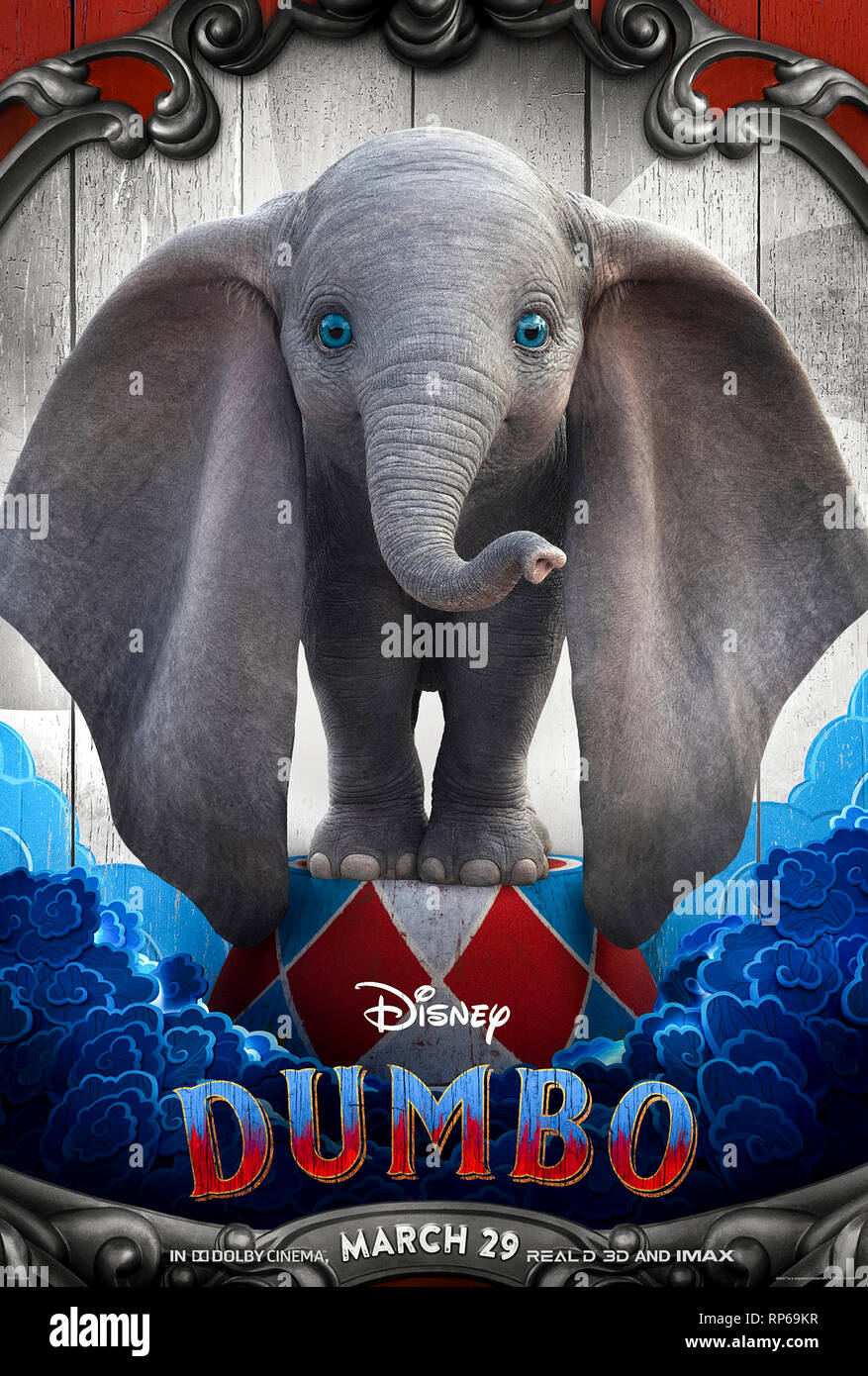 Dumbo (2019) directed by Tim Burton and starring Eva Green, Colin Farrell and Michael Keaton. - Stock Image