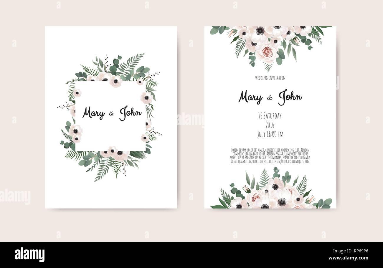Botanical Wedding Invitation Card Template Design White And
