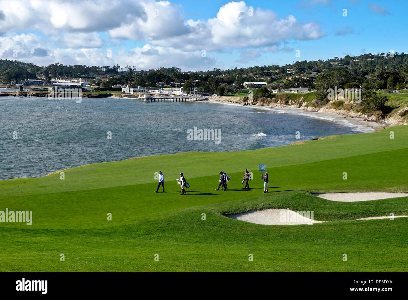11th February, 2019  Pebble Beach Golf Links, CA, USA  The famous 18th hole at Pebble Beach Golf Course at  the AT&T Pebble Beach Pro-Am - will be the - Stock Image