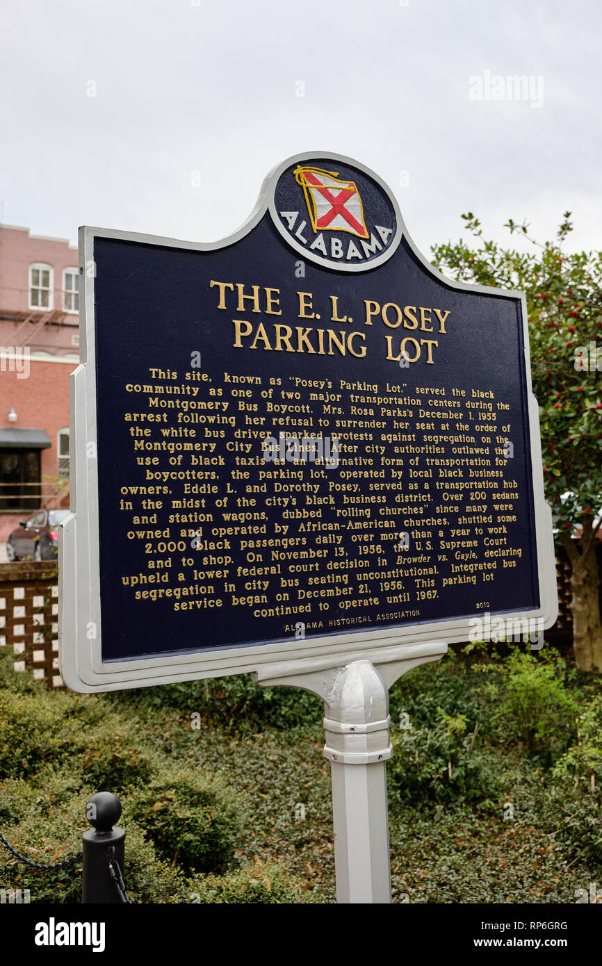 Historical marker for the E L Posey parking lot or Posey's parking lot a civil rights landmark in Montgomery Alabama USA. - Stock Image