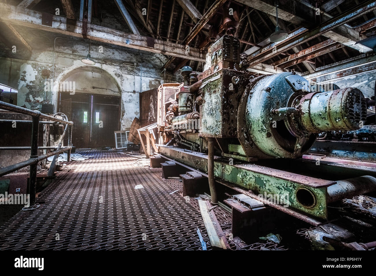 Generator area under an abandoned psychiatric hospital - Stock Image