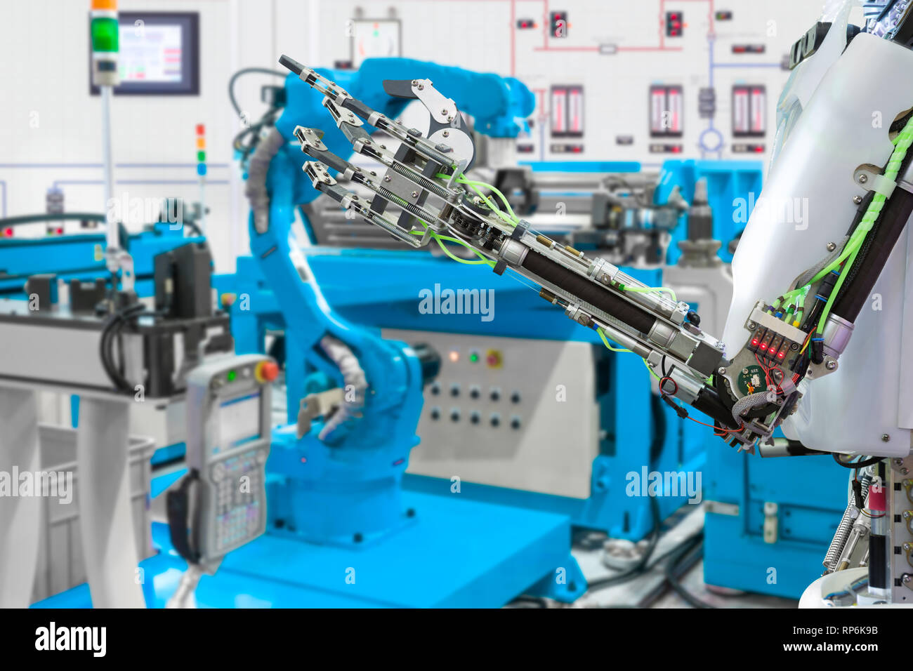 Robotic hand control robot industry, Future technology concept - Stock Image