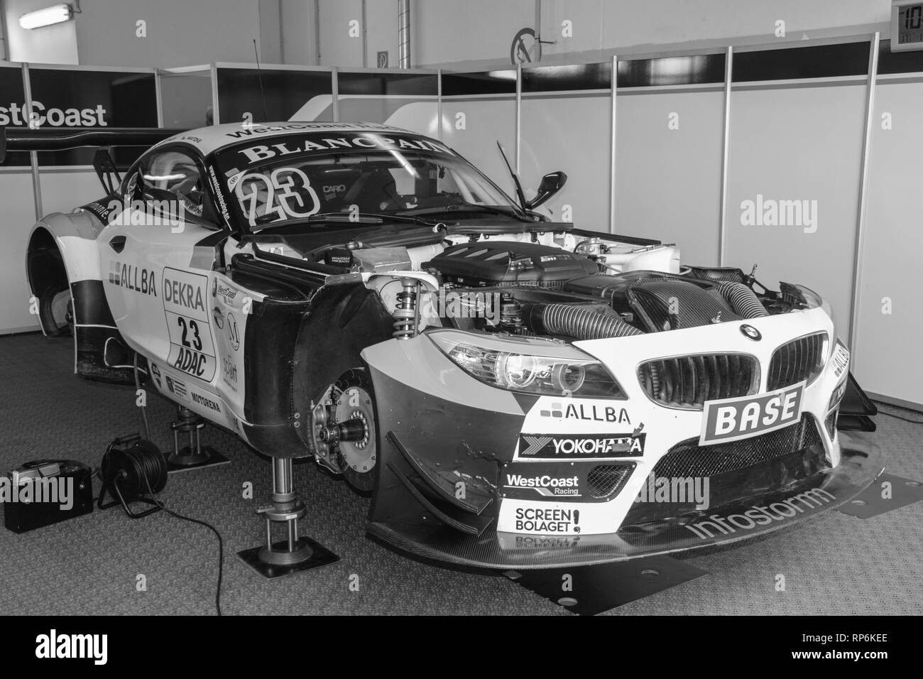 BMW Z4 GT3 race car in the box archival black & white photo edition - Stock Image