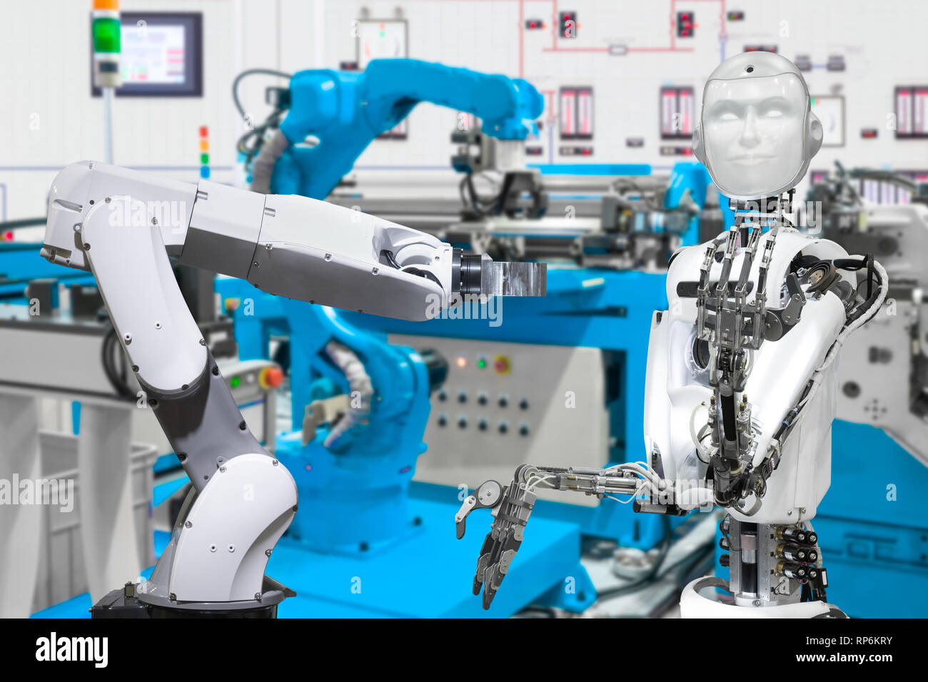 Robot in smart factory, Future technology concept - Stock Image