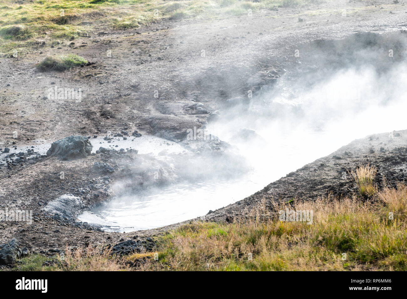 Reykjadalur, Iceland Hveragerdi Hot Springs abstract closeup of steam fumarole geyser vent vapor during autumn day in golden circle with nobody on hik - Stock Image