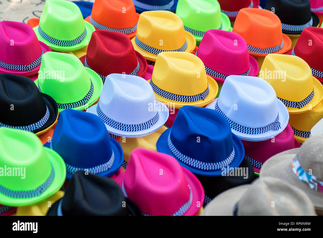 d55a02fb25eac1 Collection of multiple colors of Panama hats on sale by a street vendor in  Cartagena,