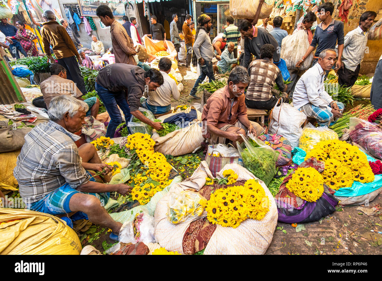 Crowds of local people sellers and buyers showing the hustle and bustle of the Mullick Ghat Flower Market. - Stock Image
