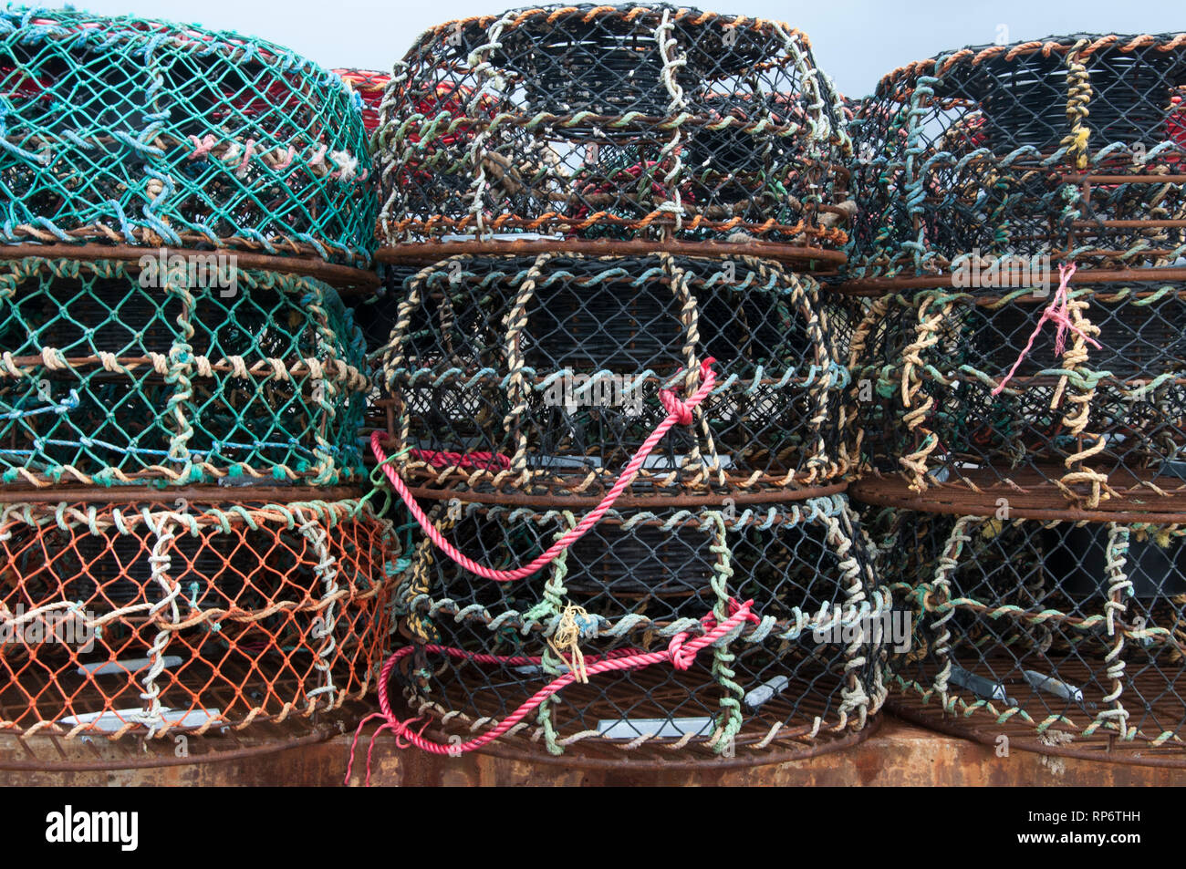 Nets stacked in the fishing harbour at Apollo Bay, Great Ocean Road, Victoria Stock Photo